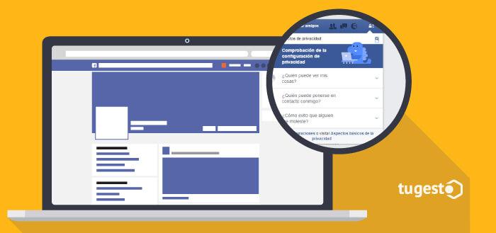 Acceso a los ajustes de privacidad en Facebook.