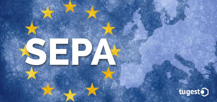 Siglas SEPA y mapa de Europa