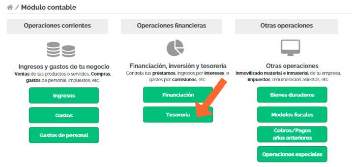 Tesorería en la solución de contabilidad online Quipo.