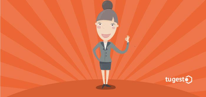 Mujer con actitud positiva para el trabajo
