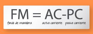 Fórmula para extraer el Fondo de Maniobra. FM= AC-PC.