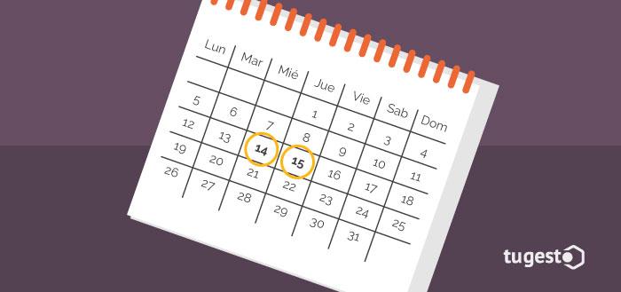Calendario con dos días marcados por asuntos propios