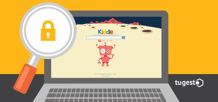 Monitor de ordenador con la pagina del buscador infantil Kiddle