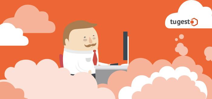 Trabajador disfrutando de las ventajas que ofrece la tecnología cloud computing.