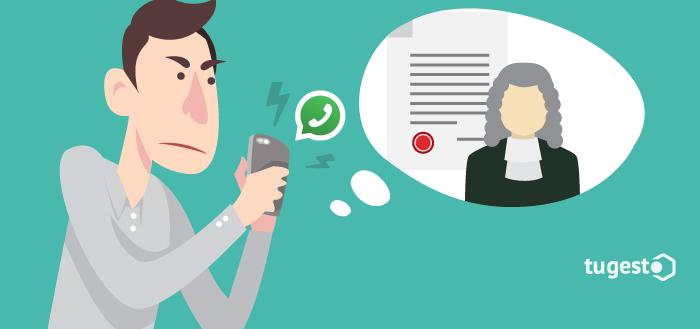 Persona que piensa sobre la validez en un juicio de los mensajes de Whatsapp.