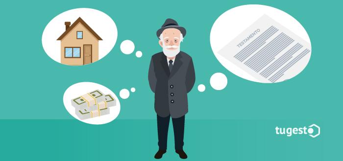 Persona piensa en cómo hacer su testamento para dejar sus bienes a su familia.