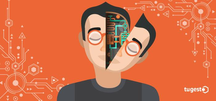 Hombre que representa un robot con inteligencia artificial