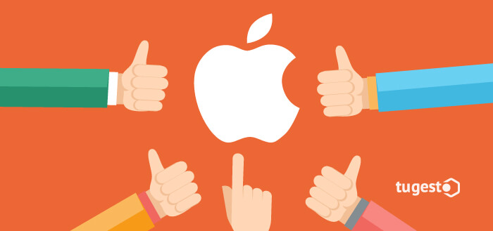 manos señalando manzana de apple