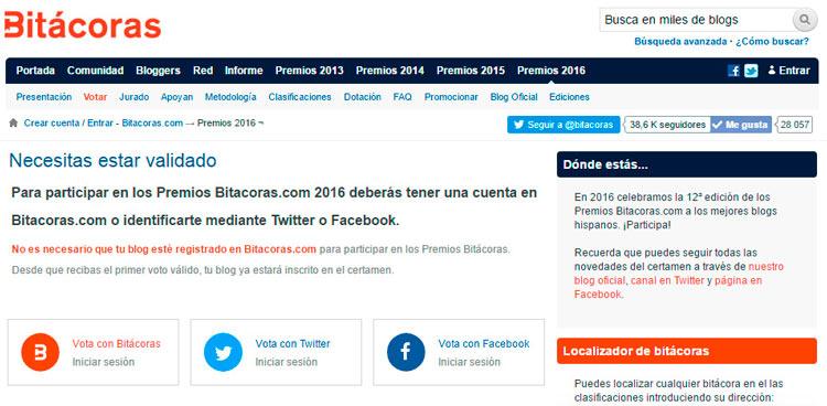 Captura pantalla de bitacoras: Paso 1 para votar en premios bitácoras 2016
