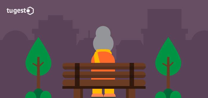Viuda sentada en un parque