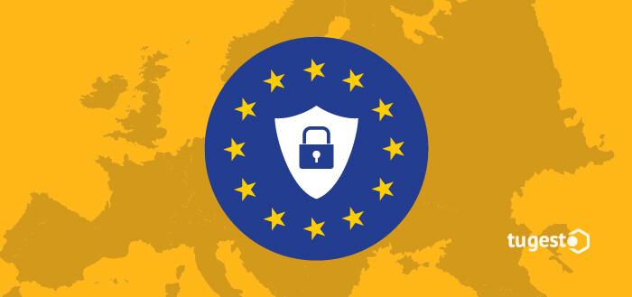 Bandera de la Unión Europea con icono de protección de datos.