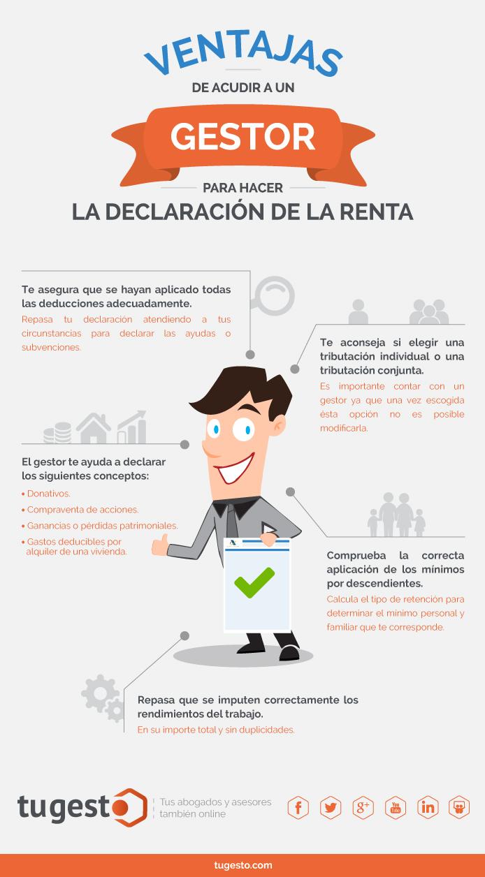 Infografia que explica las ventajas de contratar un gestor para hacer la declaración de la renta.