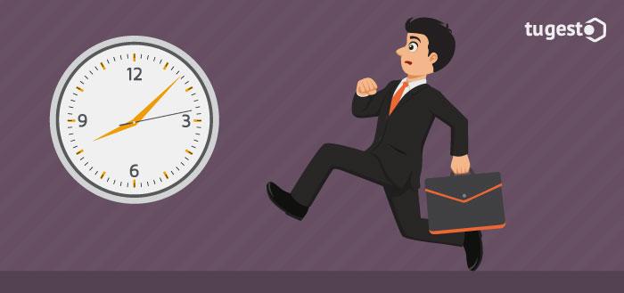 Trabajador que llega tarde al trabajo