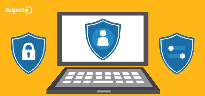 Ordenador protegido por las herramientas de privacidad y seguridad