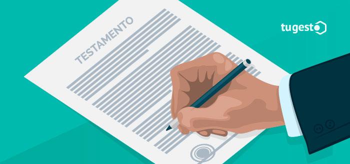 Persona firmando su testamento, para solucionar la herencia de sus bienes.