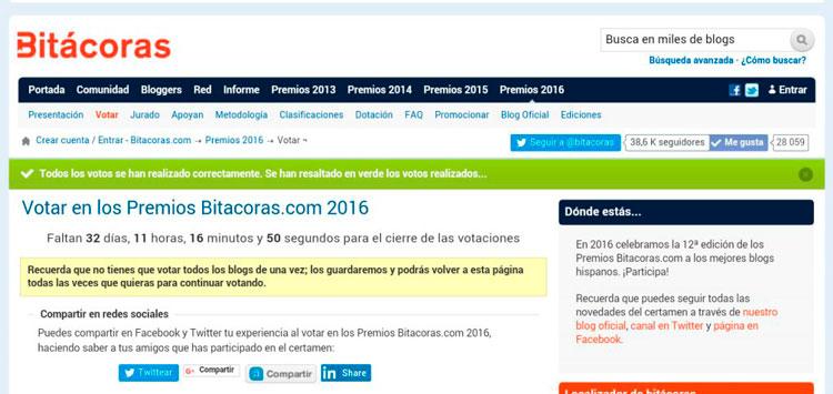 Captura pantalla de bitacoras: Votar en los premios Bitacoras.com 2016