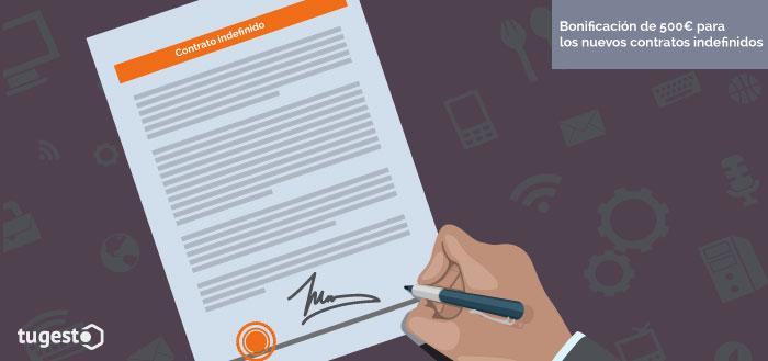 Trabajador firma un contrato indefinido