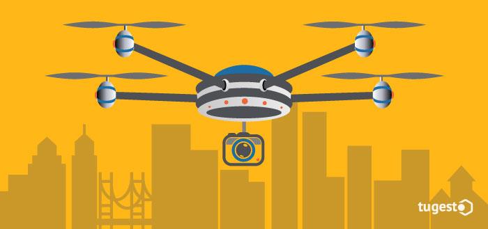 Dron sobrevolando la cuidad
