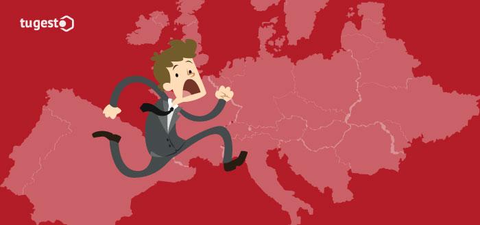 hombre corriendo hacia otro país
