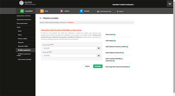Captura de pantalla Escritorio solución online Quipo, sección Libros