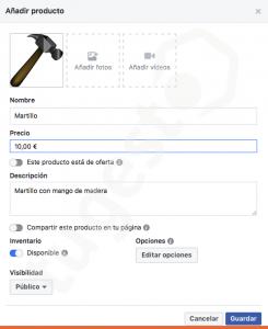 añadir producto tienda facebook