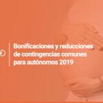 Bonificaciones y reducciones de contingencias comunes para autónomos 2019